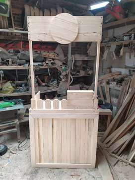 Booth meja gerobak kayu modis murah