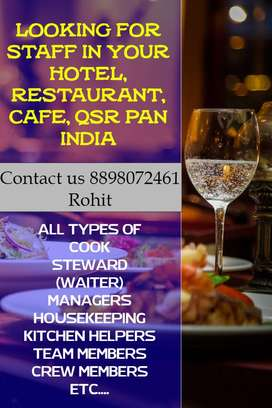 HOTEL, RESTAURANT, CAFE, QSR STAFF SUPPLIER IN PUNE CONTACT US