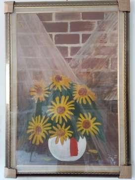 Lukisan Sunflower Oil Colour on canvas