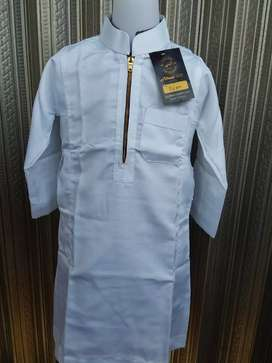 Jubah Anak Polos 2-11 thn, Model Saudi , Warna Putih