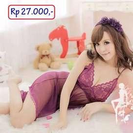 Paling Murah Lingerie Baju Tidur Seksi Purple Transparan Halus Lembut