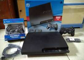 PS3 Slim Paling Laris Bos HDD 500GB full 100 game terbaik & 2 Stik