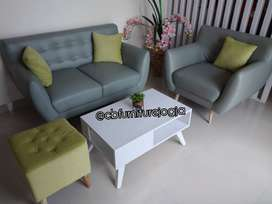 Sofaa Retroo 21 Seater + Mejaa dan 2 Stool kancing ,.