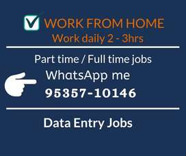 Part time data entry jobs for Students, Housewives. Apply Now
