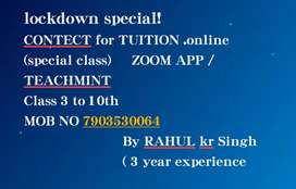 Contact for tuition online. through Zoom app /teachmint