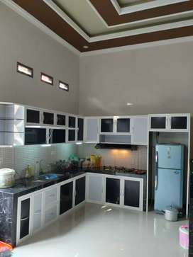 Kitchen set minimalis aluminium, kitchenset ACP dan kaca gresik