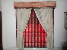Blind with shafoon curtains