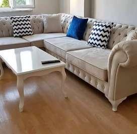 Sofa sudut sudu6 chesret & set meja makan duco mewah 4kursi