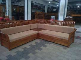 NEW UPPER STYLE 5 SEATER WOODEN CORNER SOFAS. CALL NOW.