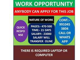 Simple DATA ENTRY work Part time HOME BASE job EARN 23000 to 46000/-