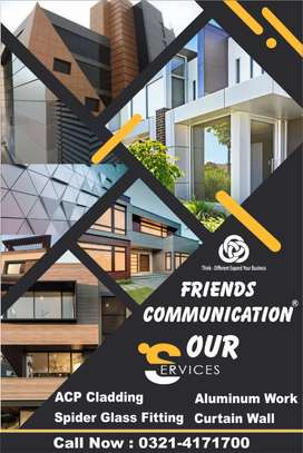 Building,Front,Elevation,Aluminium,Glass,Curtain,Wall,Alucobond,ACP,