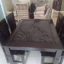 meja makan kursi 4 kayu jati jepara real pick