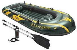 Intex Seahawk 4 Inflatable 4 Person Boat Raft Set with Oars & Air Pump