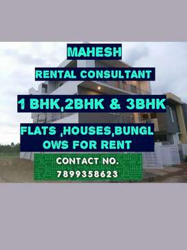 For Rent 1bhk/2bhk/3bhk FLATS,HOUSES bunglows for RENT