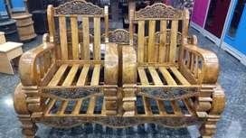 Brown wood sofa set