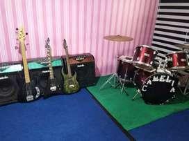 Set alat musik Drum, Gitar, Amplie back sound
