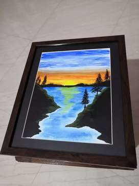 Canvas painting with frame.
