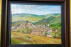 Old 1990 J.Child Painting oil convas beautiful village scene