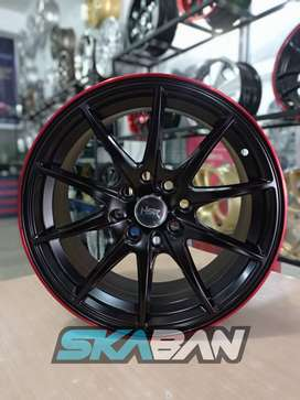 Ready Stock HSR Point R15x7 H4x100/114 Black Lip Red