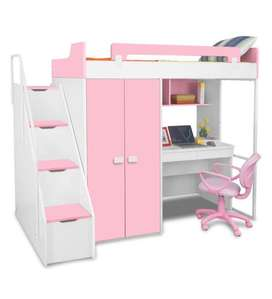 Boston Study Bunk Bed in Pink