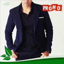 Jas Blazer Blue Skinny Suit Korean Style