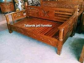 Bangkau santai ukiran, p.200x80, bahan kayu jati tua asli