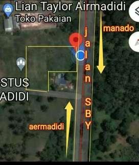 Tanah 2600m2 di jl SBY Minahasa Utara