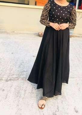 Rayon black embroidered dress