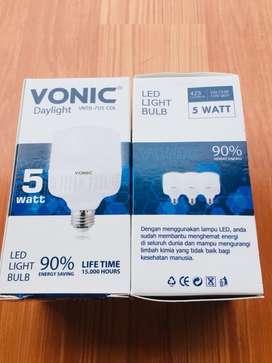 Lampu LED White Vonic 5 Watt 6000K Lumens 425 Save Energy 90% SNI