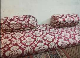 4 floor mattress 4pillows with curtains and with cover in warranty