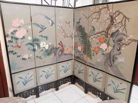Vintage Hand Painted Chinese Wooden Partition Screen