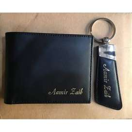 Customize name on Leather Wallets and Key Chains