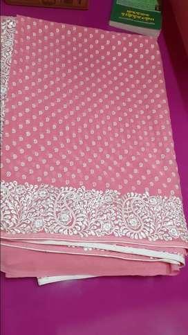 pink color designer saree
