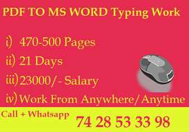 E- Book Typing Work / Part Time - Full Time / Home Based Job Available