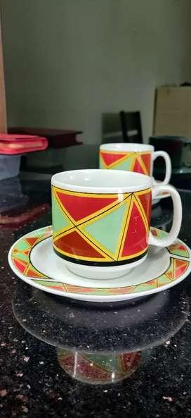 Ceramic printed tea cup set