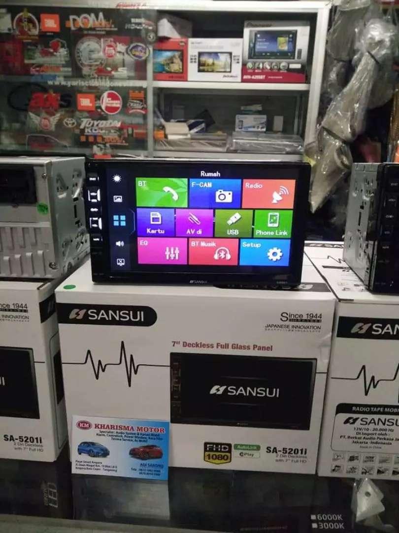 tv mobil merk sansui sa-5201i mirror link android dan iphone 0