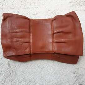 Tas import eks fashion clutch/tas tangan unik kulit asli tebal coklat