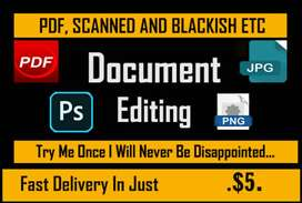 I will Edit any kind of Document in Photoshop