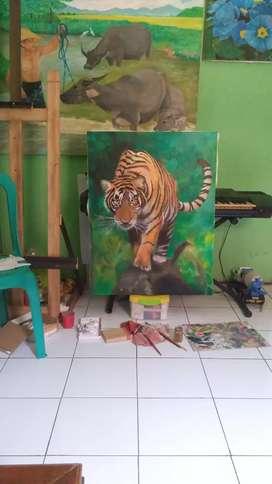 Lukisan harimau ukuran 90x70cm