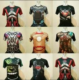 Baju Kaos Bodyfit Super Hero. Aksesoris Fitness Palembang