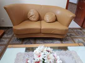 Slightly used leather sofa and table