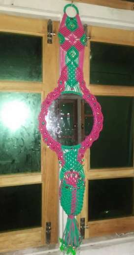 Hand making mirror with keep makeup accessories