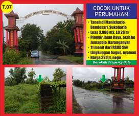 Tanah Pinggir Jalan raya Luas 3000m di Bendosari Sukoharjo