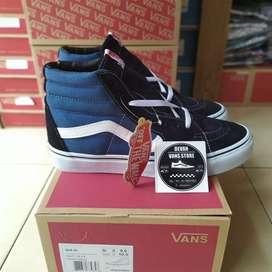 Sepatu Vans SK8hi Blue Navy (Free kaos kaki Premium)