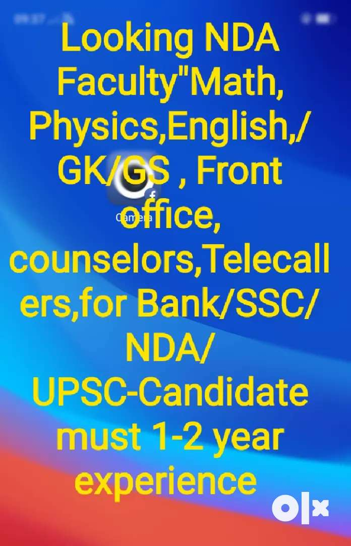 """Looking Faculty for NDA/IIT""""Math, Physics, English, Counselor, Front 0"""