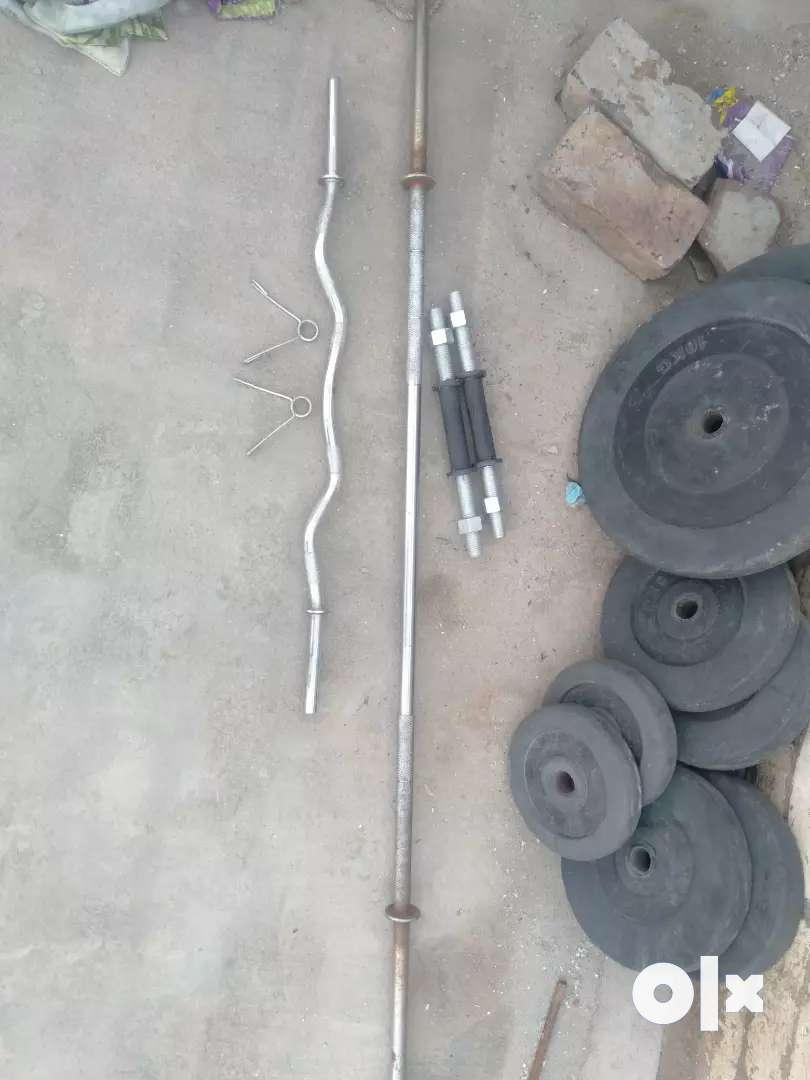 45 kg rubber weight with rods and locks. 0