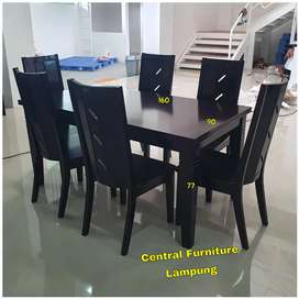 Meja makan full kayu minimalis 6 kursi kokoh kuat