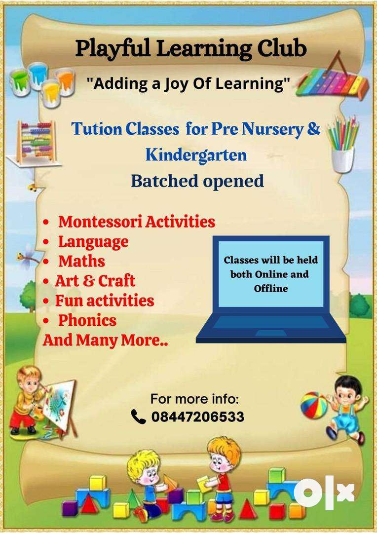 Tuition or Online Activities for (Prenursery to K.G class)