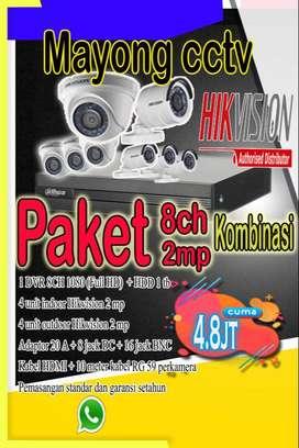Paket CCTV Hikvision 8 ch 2 mp kombinasi