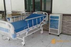 Bed/ Ranjang pasien 2 crank bahan ABS lokal + matras
